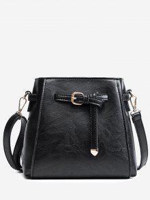 حقيبة كروسبودي من الجلد المصنع مع حزام - أسود