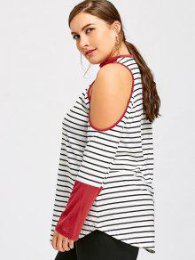 839306289a1809 28% OFF  2019 Plus Size Cold Shoulder Striped Choker T-shirt In ...