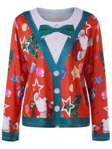 Vestido De Manga Comprida De Natal Mais Tamanho Santa Claus - Vermelho 2xl