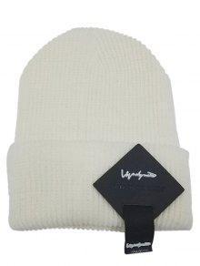 مربع إلكتروني تسمية مزينة التشفيه محبوك قبعة - أبيض
