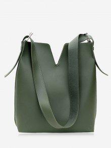 مجموعة حقيبة كتف من قطعتين  - أخضر