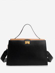 على النقيض من لون بو حقيبة يد جلدية - أسود