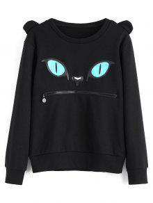 Sweatshirt Mit Reißverschluss, Katze Druck Und Rundhals  - Schwarz S