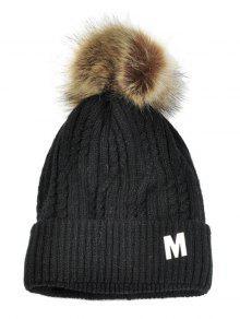 حرف M مزين المخملية محبوك قبعة صغيرة - أسود