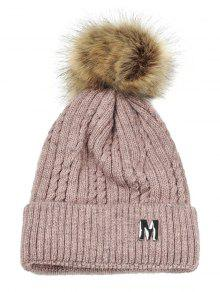 M قبعة محبوكة مزينة بحرف  - زهري