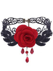 Gothic Knitted Flower Leaf Choker Necklace