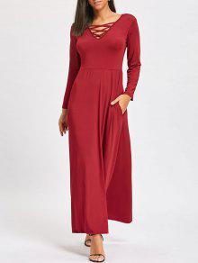 شعرية الخامس عنق طويل الأكمام الطابق طول اللباس - نبيذ أحمر Xl