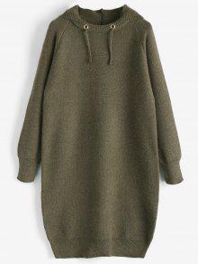 Robe Pull à Capuche - Vert Olive