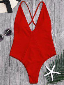 قطعة واحدة قطع عالية عبر الظهر ملابس السباحة - أحمر S