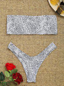 Bikini Bandeau Imprimé Léopard - Blanc M