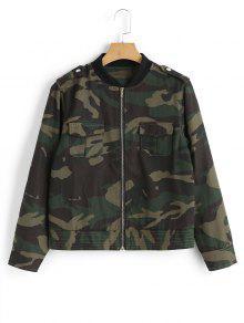 Knopfleiste Zip Up Camouflage Jacke - Bundeswehrgrün M