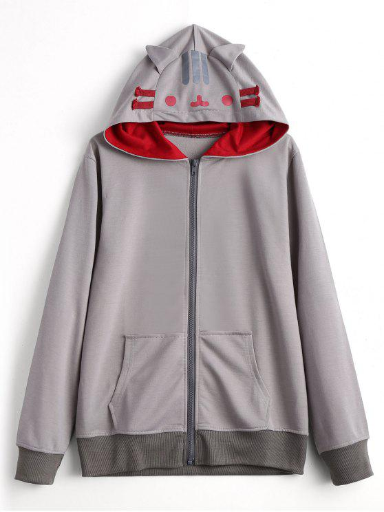 outfit Contrasting Zip Up Cat Hoodie - GRAY L