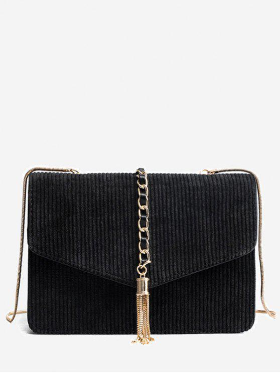 387e098a15 29% OFF] 2019 Tassel Chain Suede Crossbody Bag In BLACK | ZAFUL