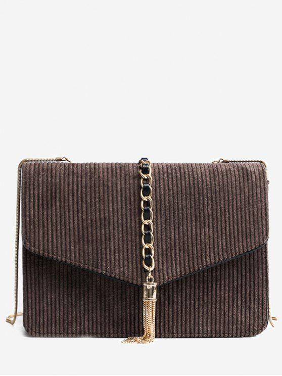 Tassel Chain Suede Crossbody Bag - Café