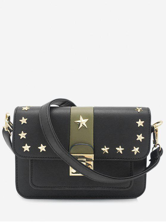 Nieten Stars Striped Crossbody Tasche - Schwarz Horizontal