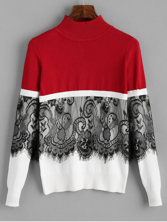women Pullover Lace Panel Mock Neck Sweater - RED ONE SIZE