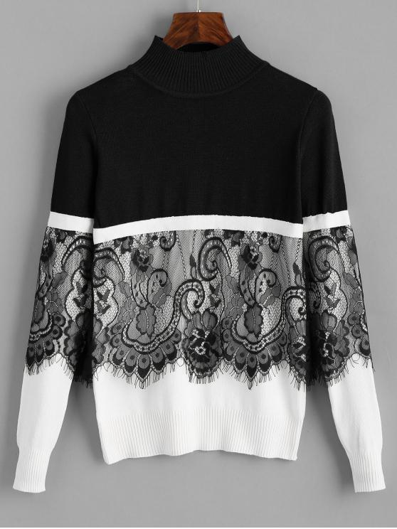 women's Pullover Lace Panel Mock Neck Sweater - BLACK ONE SIZE