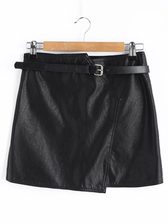 trendy Belt Mini Faux Leather Skirt - BLACK L