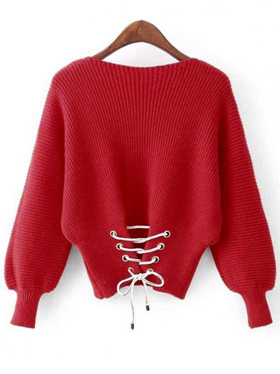 Lantern Sleeve Back Lace Up Sweater RED: Sweaters ONE SIZE | ZAFUL
