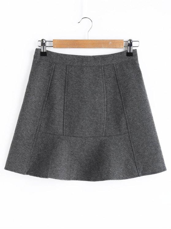 unique A Line Wool Blend Mini Skirt - GRAY 2XL