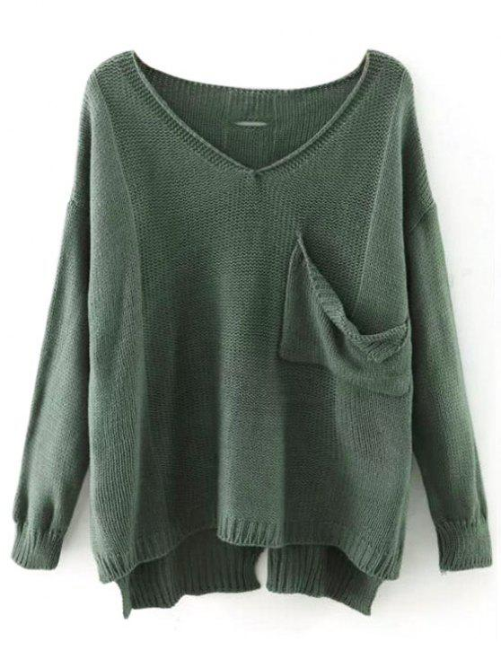 online V Neck Cutout High Low Sweater - PEA GREEN ONE SIZE