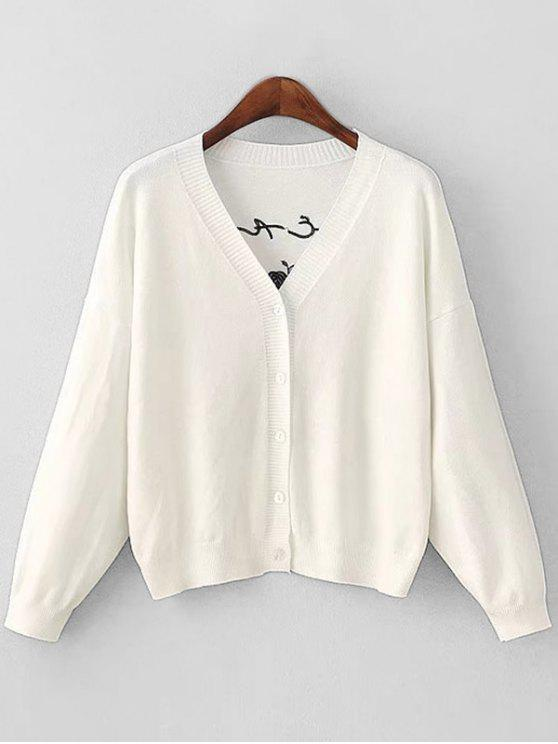 Flower Patched Button Up Cardigan WHITE: Sweaters ONE SIZE | ZAFUL