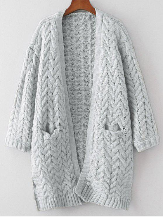 Side Slit Chunky Cardigan LIGHT GRAY: Sweaters ONE SIZE | ZAFUL