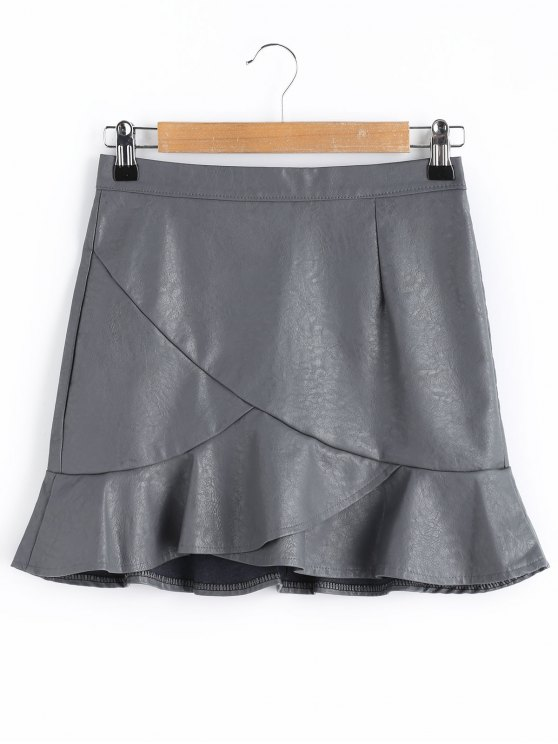 328cdf030 27% OFF] 2019 Ruffle Faux Leather Skirt In SMOKY GRAY | ZAFUL