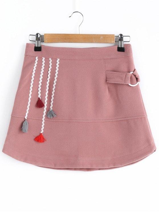 Wool Blend Tassel A Line Jupe - Rose Foncé  XL