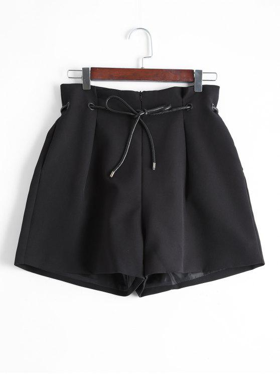 hot Back Faux Pocket Wide Leg Shorts - BLACK L