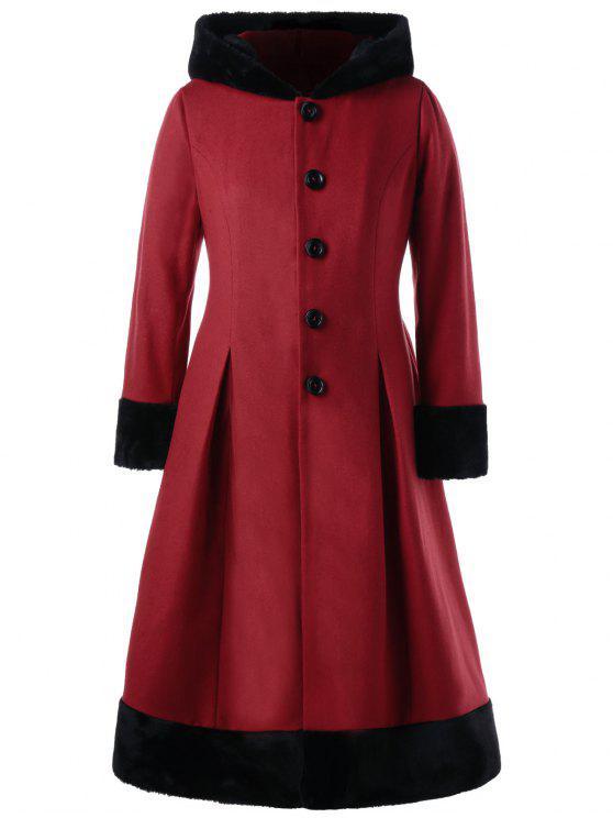 Plus Size Faux Fur Hooded Dress Coat PURPLE RED
