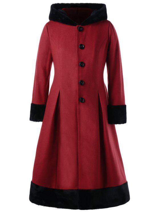 2018 Plus Size Faux Fur Hooded Dress Coat In Red 5xl Zaful