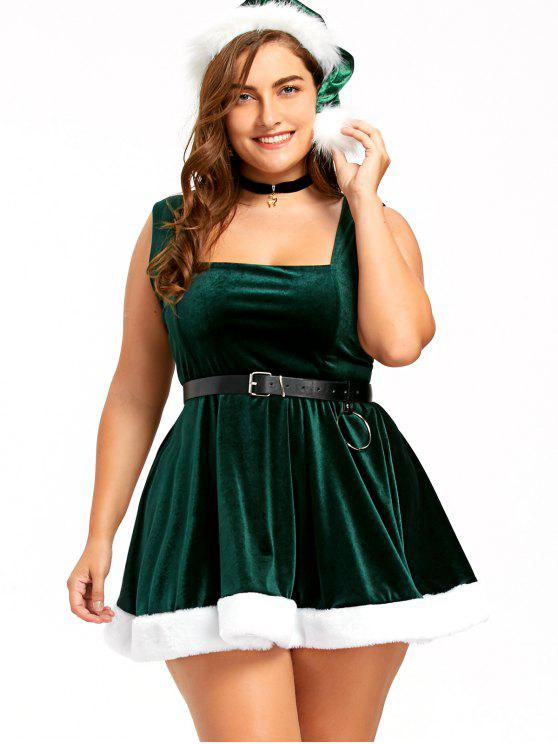women Christmas Lace Up Skater Dress with Hat - DEEP GREEN 2XL