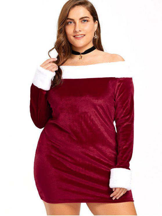 42% OFF] 2019 Christmas Plus Size Off The Shoulder Velvet Dress In ...