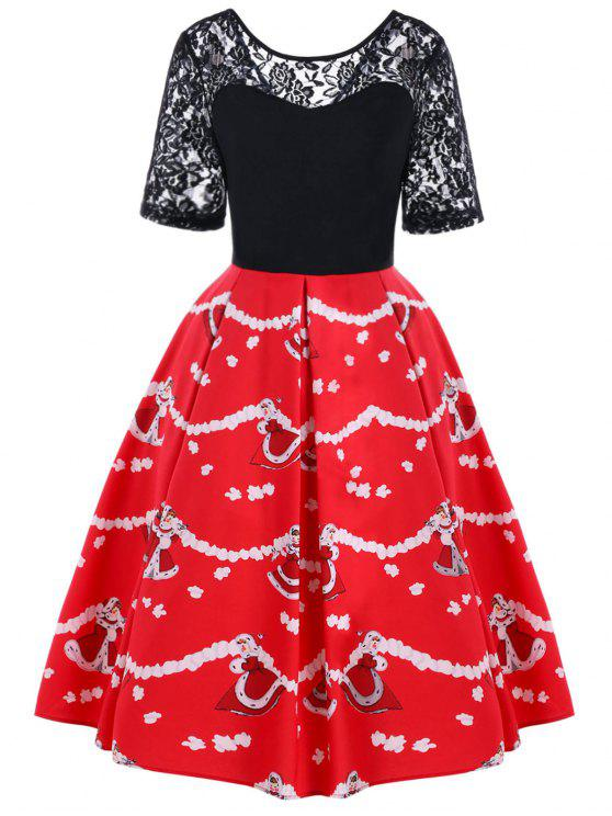sale Christmas Lace Yoke 50s Swing Dress - BLACK AND RED L