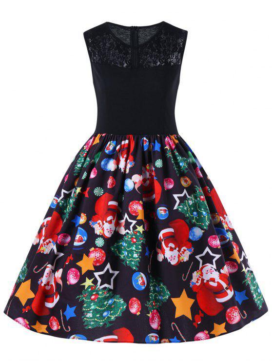 Vestido de Natal Sem Manga Ajustado com Corte de Renda e Saia Sino - Preto 2XL