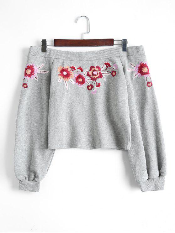 affordable Off Shoulder Floral Embroidered Crop Sweatshirt - GRAY L