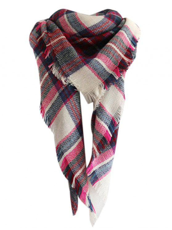 womens Checked Pattern Faux Wool Fringed Shawl Scarf - ROSE MADDER