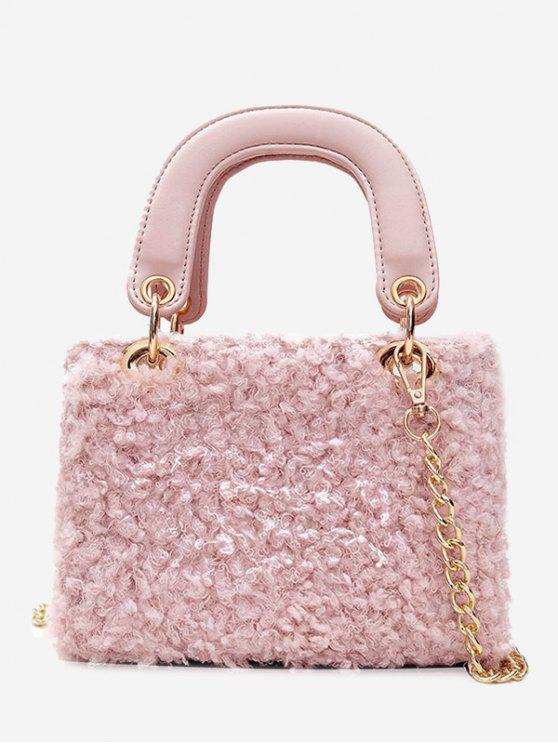 Outfit Chain Faux Fur Handbag With Strap Pink