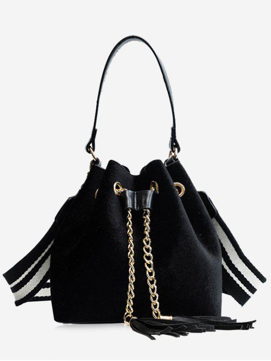 fashion Tassel String Chain Handbag - BLACK