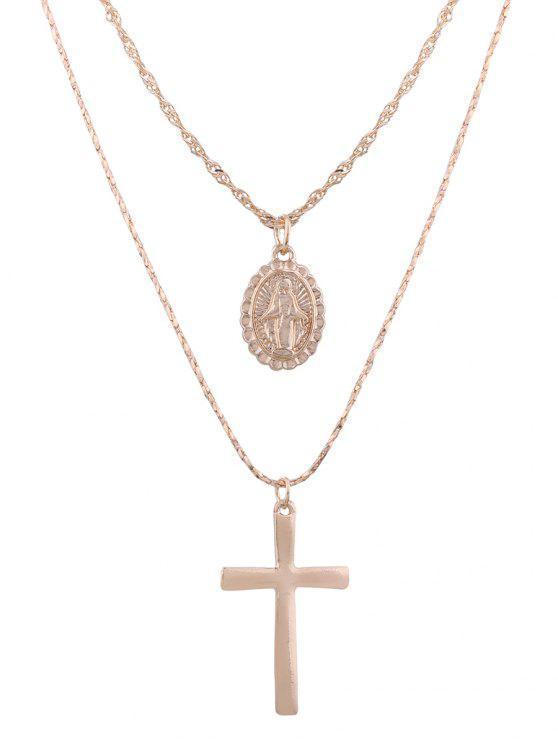 合金雕刻女神橢圓形十字架項鍊套裝 - 神龍金色