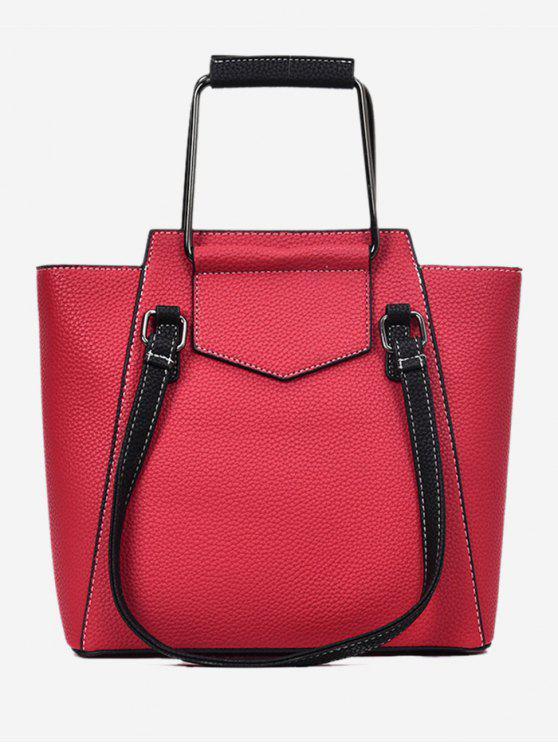 Top Handle Stitching PU Leather Handbag - Vermelho