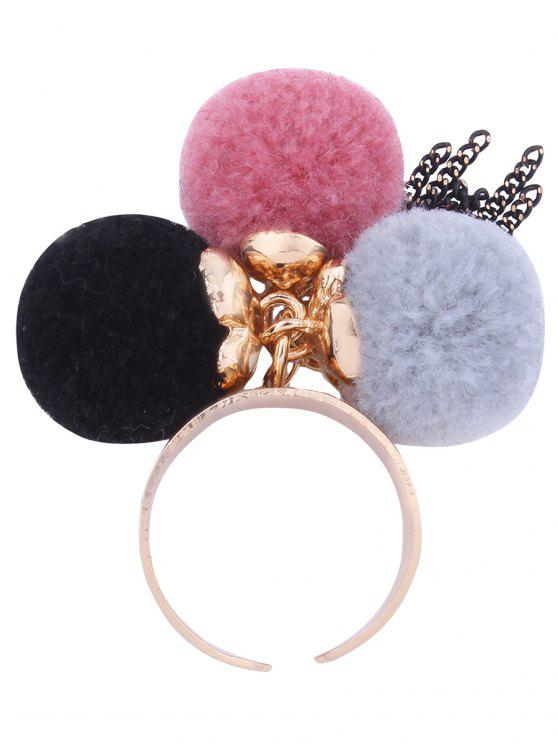 women Charm Fuzzy Ball Fringed Cuff Ring - PINK