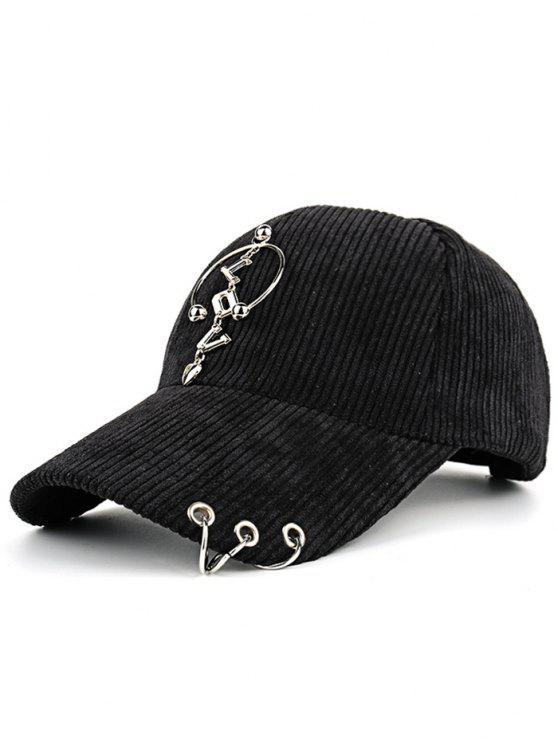 hot Metallic Letters Circle Ring Embellished Corduroy Baseball Hat - BLACK
