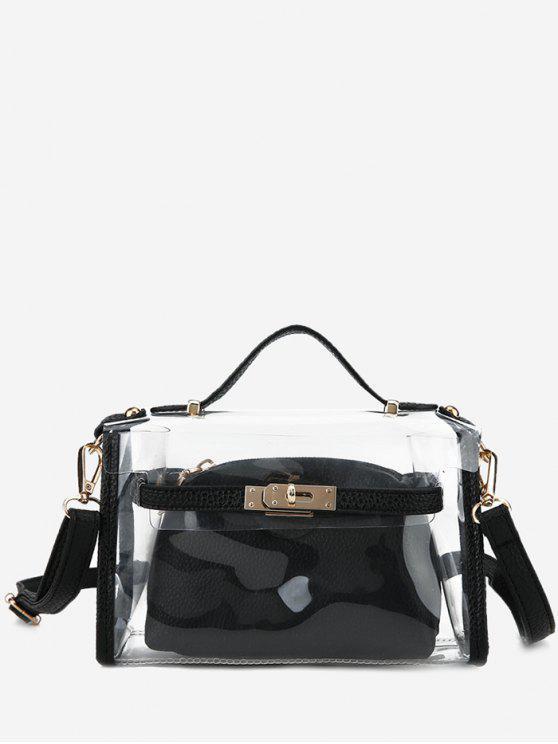 outfits Transparent 2 Pieces Crossbody Bag Set - BLACK