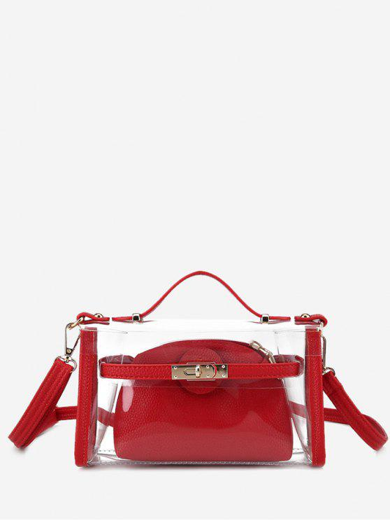 shops Transparent 2 Pieces Crossbody Bag Set - RED