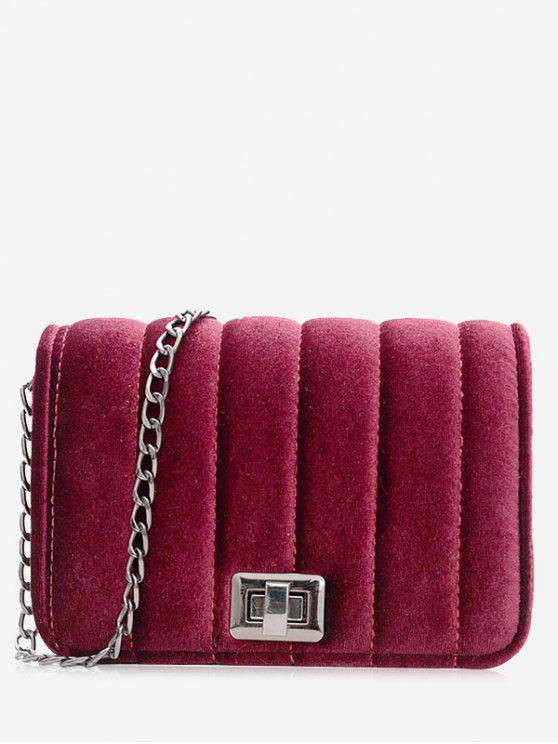 chic Chain Striped Hasp Crossbody Bag - RED