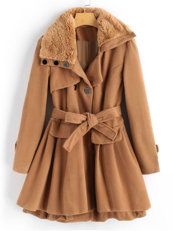 trendy Wool Blend Double-breasted Skirted Coat - CAMEL M