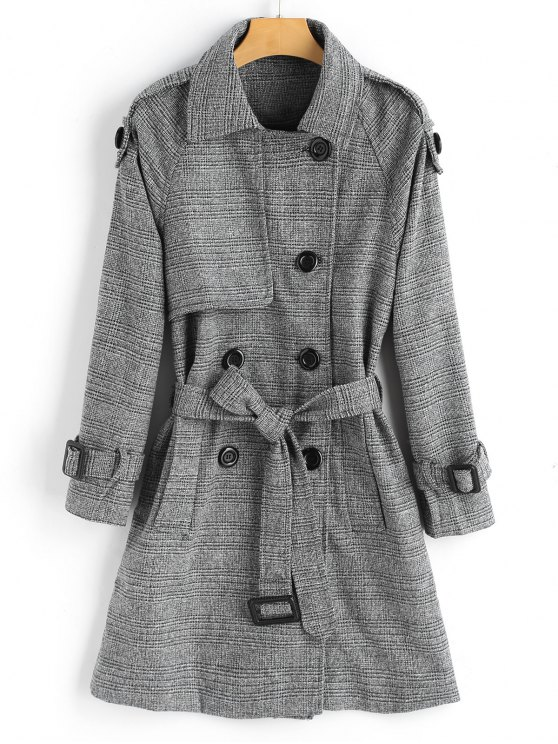 women's Double-breasted Checked Wool Blend Coat - CHECKED L