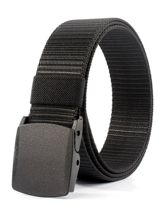 women Belt Metal Buckle Embellished Canvas Belt - BLACK